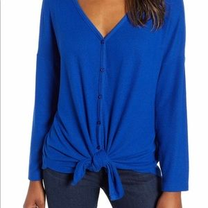 Nordstrom Tops - Caslon tie front cozy knit shirt in Blue. NWT